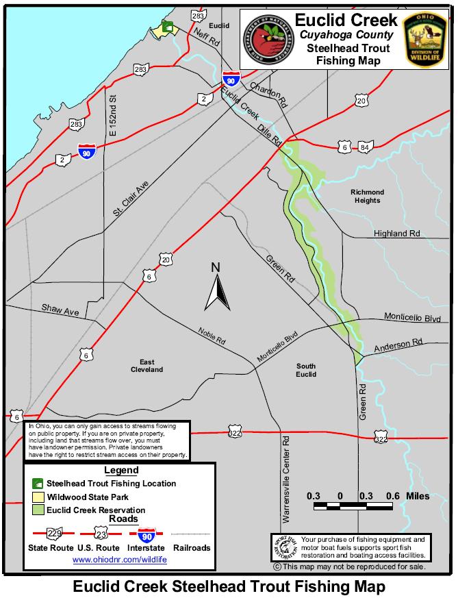 Euclid creek steelhead fishing map and guide diy fly fishing for Ohio dnr fishing
