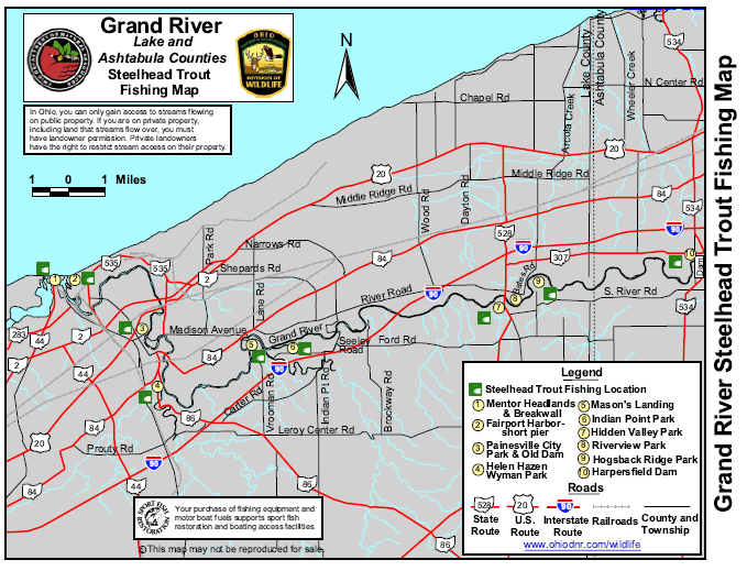 Grand River Ohio Steelhead Fishing Map Diy Fly Fishing