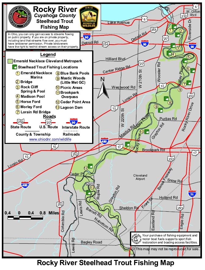 Rocky river ohio steelhead fishing map and guide diy for Fly fishing ohio