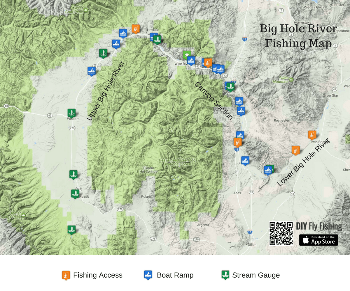 big hole river fishing map