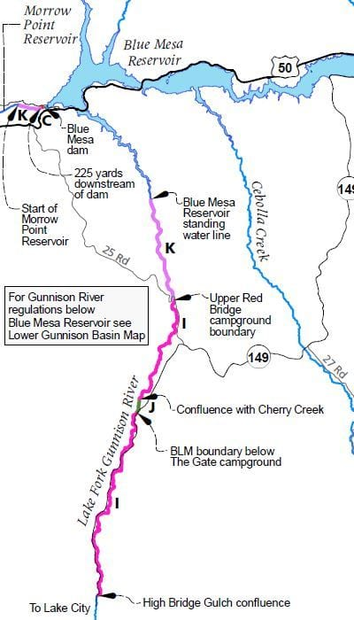 Lake Fork Gunnison River map of special regulation fishing areas