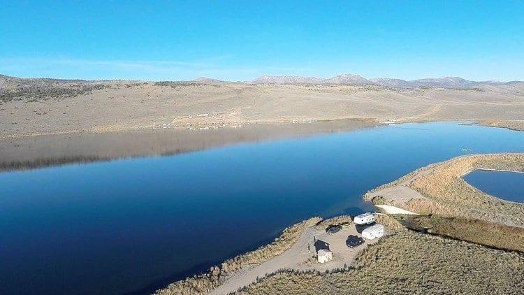 Aerial view of Lake John near Walden Colorado