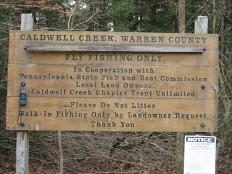Caldwell Creek fly fishing only sign