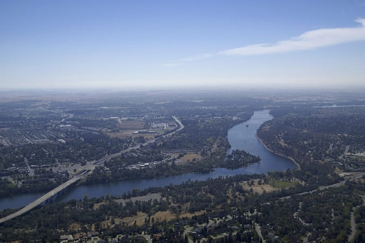 Lower American River in California