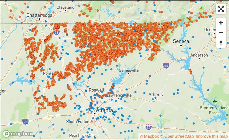 map of trout streams in Georgia