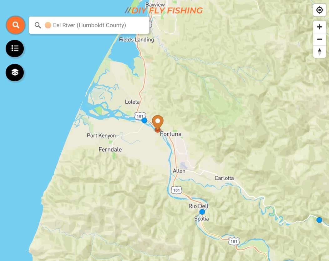 map of Eel River in California