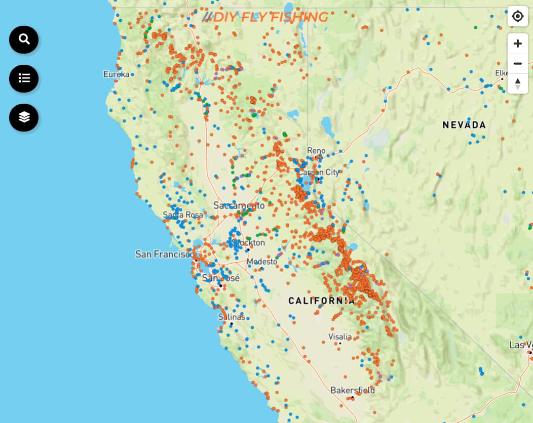 map of the best places to fish in California