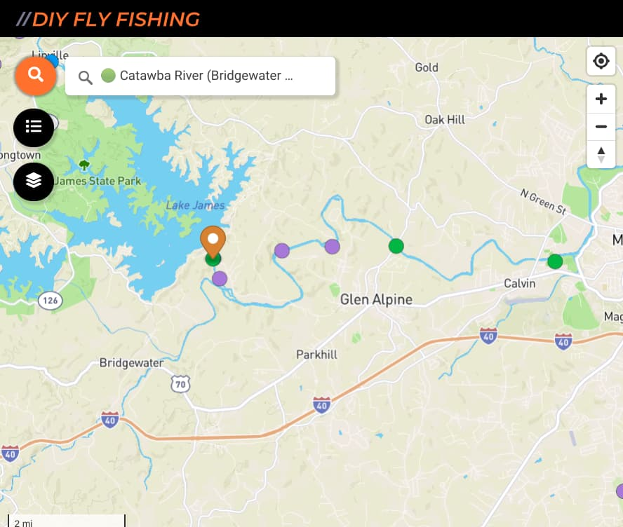 map of boat ramps on the Catawba River tailwater in North Carolina
