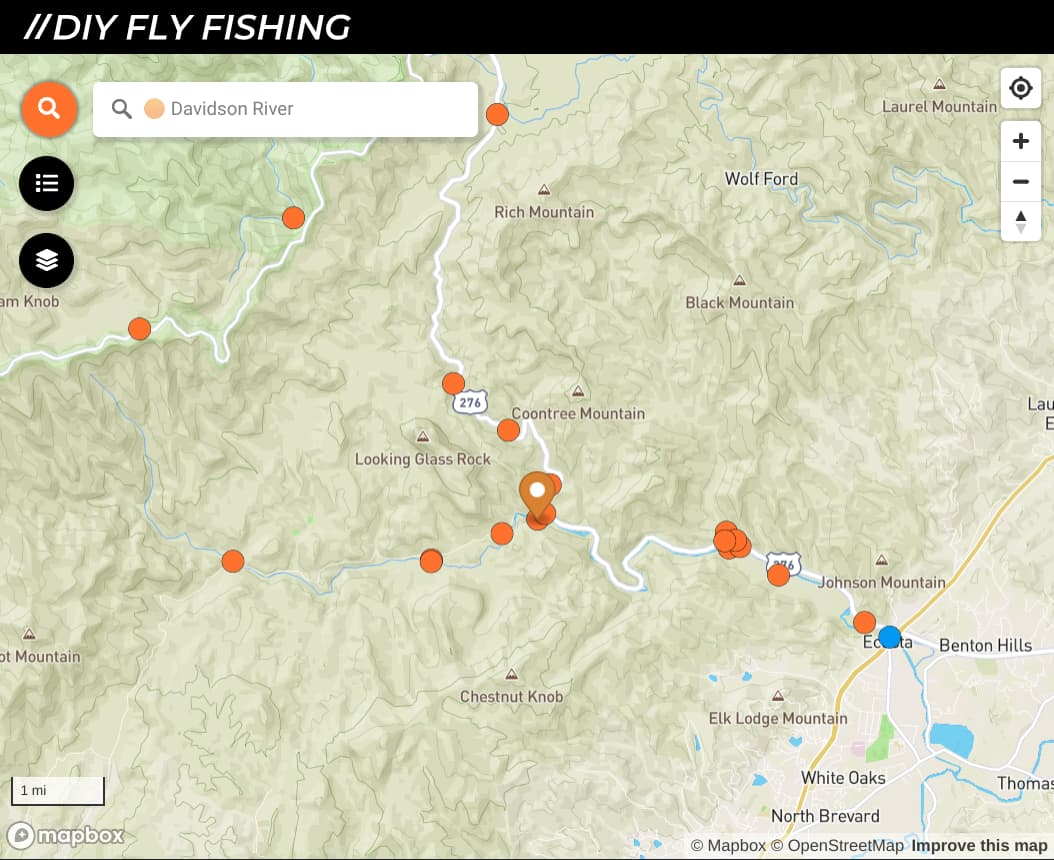 map of fishing spots on the Davidson River in North Carolina