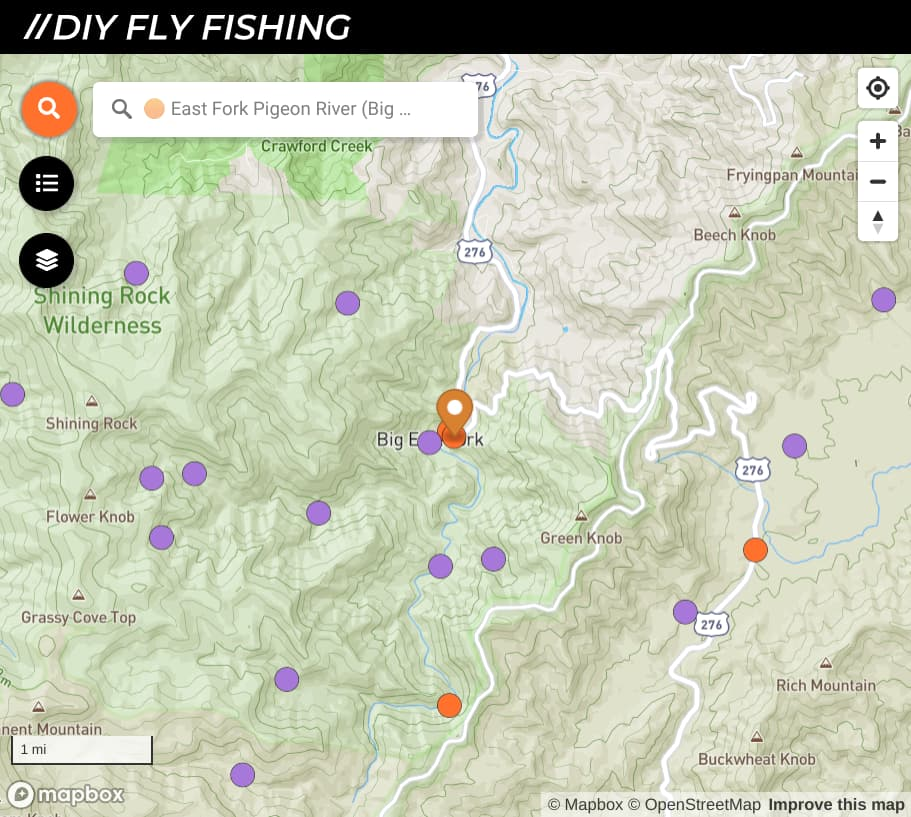 map of fishing spots on the East Fork Pigeon River in North Carolina