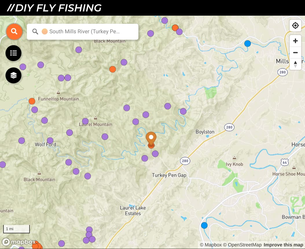 map of fishing spots on the South Mills River in North Carolina
