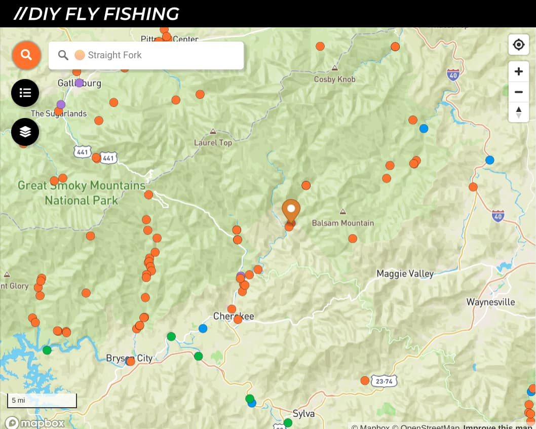 map of fishing spots on the Straight Fork in Great Smoky Mountains National Park