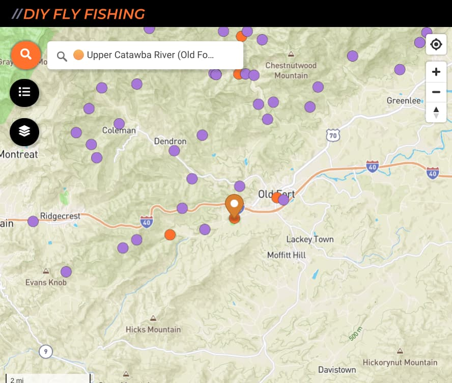 map of fishing spots on the upper Catawba River in North Carolina