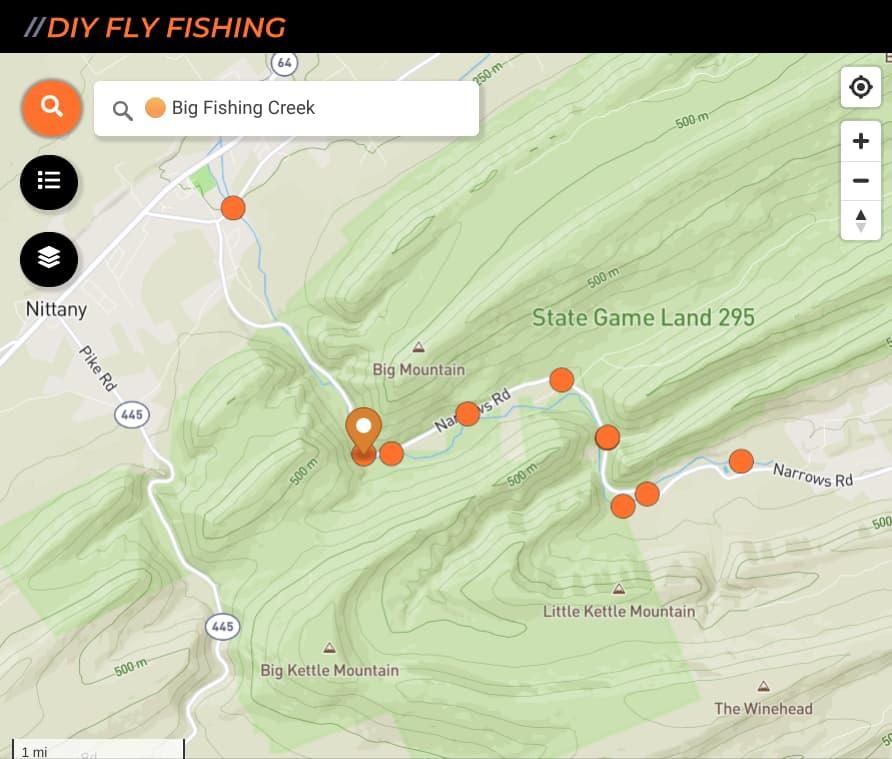 map of fishing spots on Big Fishing Creek in Pennsylvania