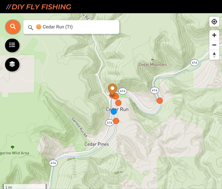map of fishing spots on Cedar Run in Pennsylvania