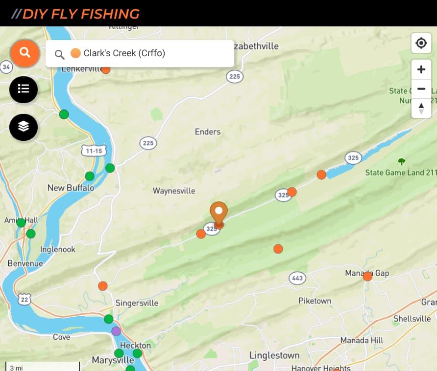 map of fishing spots on Clark Creek in Pennsylvania