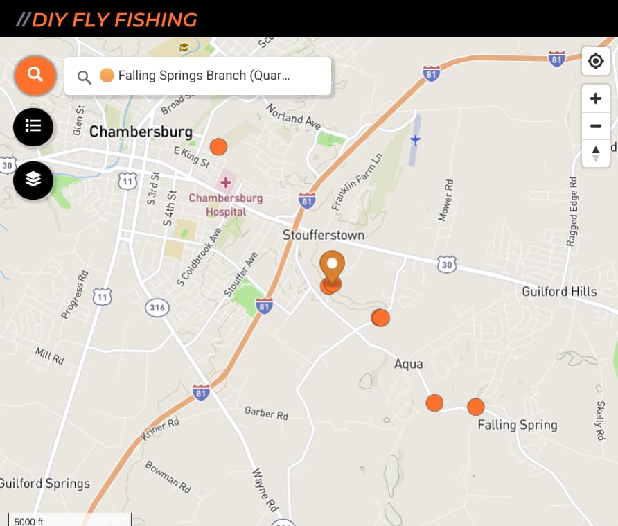 map of fishing spots on Falling Springs Branch in Pennsylvania