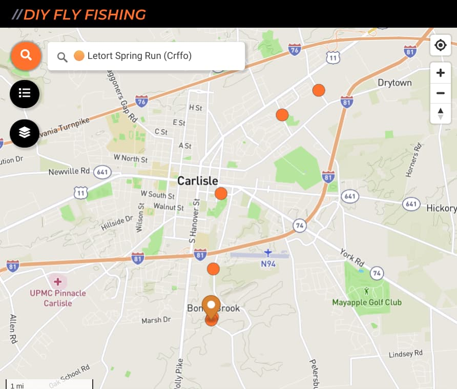 map of fishing spots on the Letort Spring Run in Pennsylvania