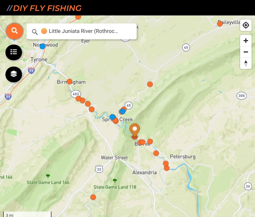 map of fishing spots on the Little Juniata River in Pennsylvania