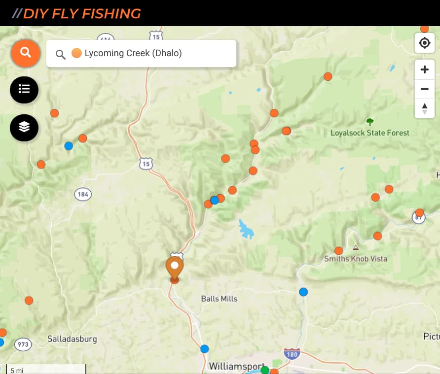 map of fishing spots on Lycoming Creek in Pennsylvania