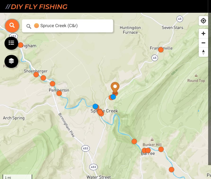 map of fishing spots on Spruce Creek in Pennsylvania