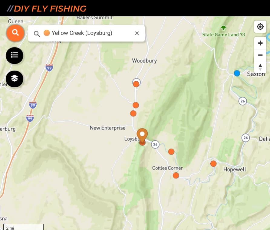 map of fishing spots on Yellow Creek near Loysburg Pennsylvania