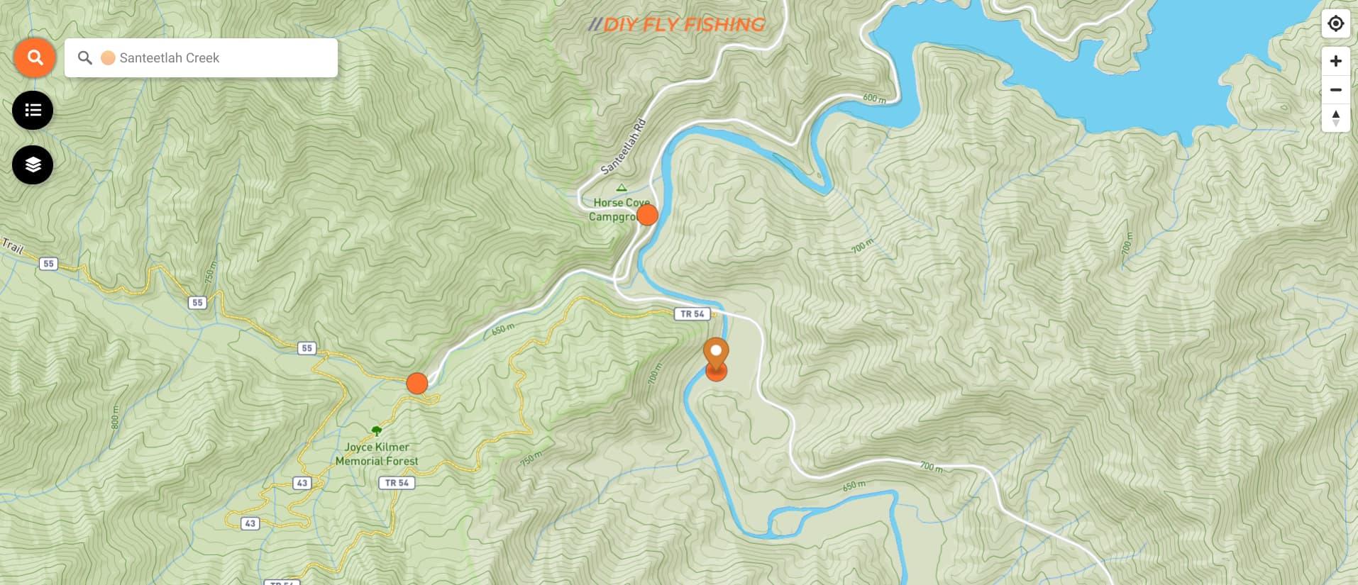 Map of Santeetlah Creek in North Carolina