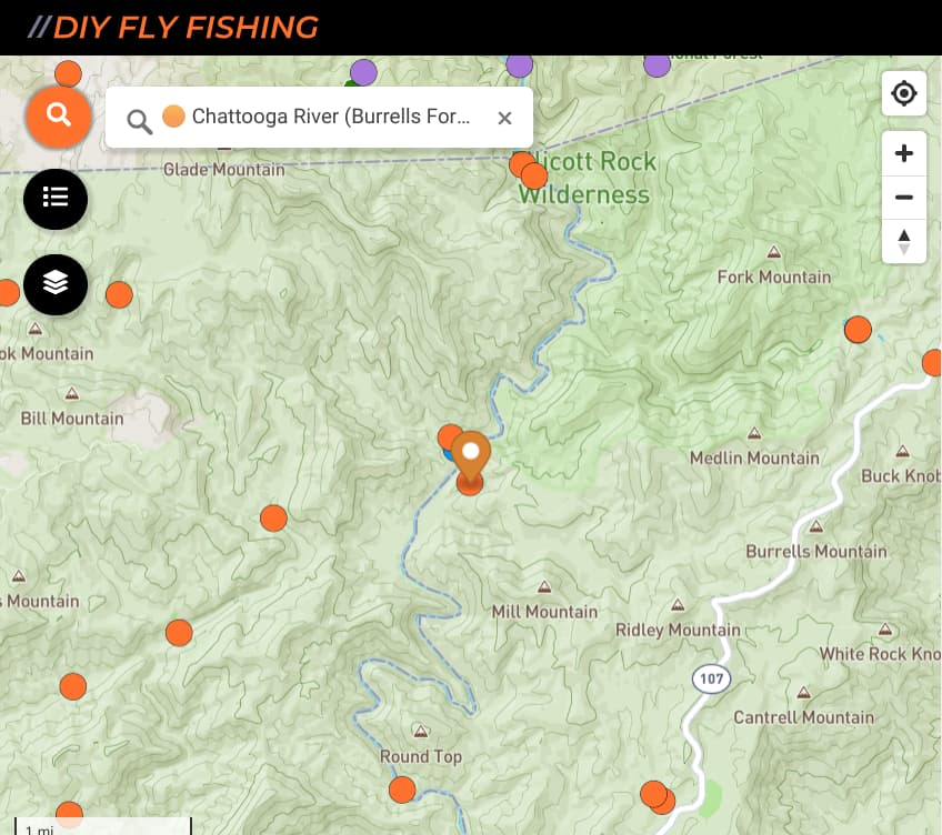map of fishing spots on the Chattooga River in Georgia