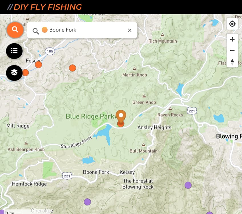 map of fishing access sites on Boone Fork Creek in western North Carolina