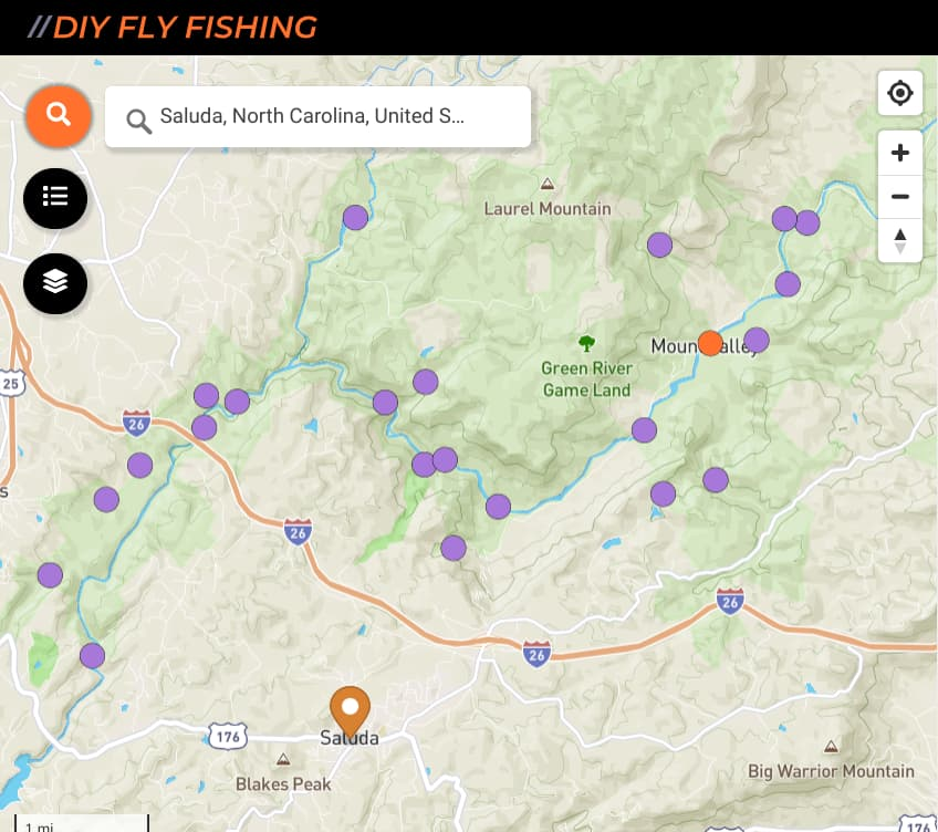 map of fishing spots on the Green River in North Carolina