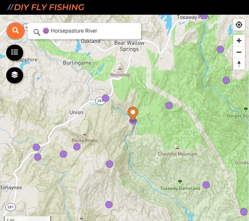 map of fishing spots on Horsepasture River in North Carolina