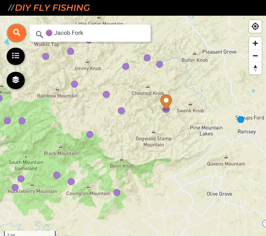map of fishing spots on Jacobs Fork Creek in North Carolina