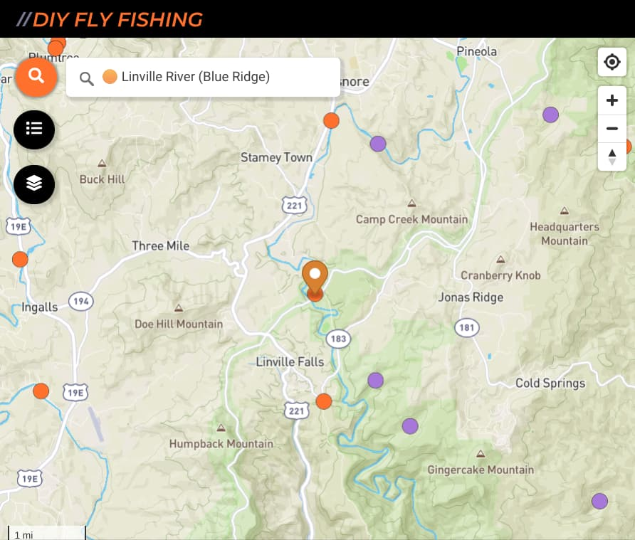 map of fishing spots on the Linville River in North Carolina