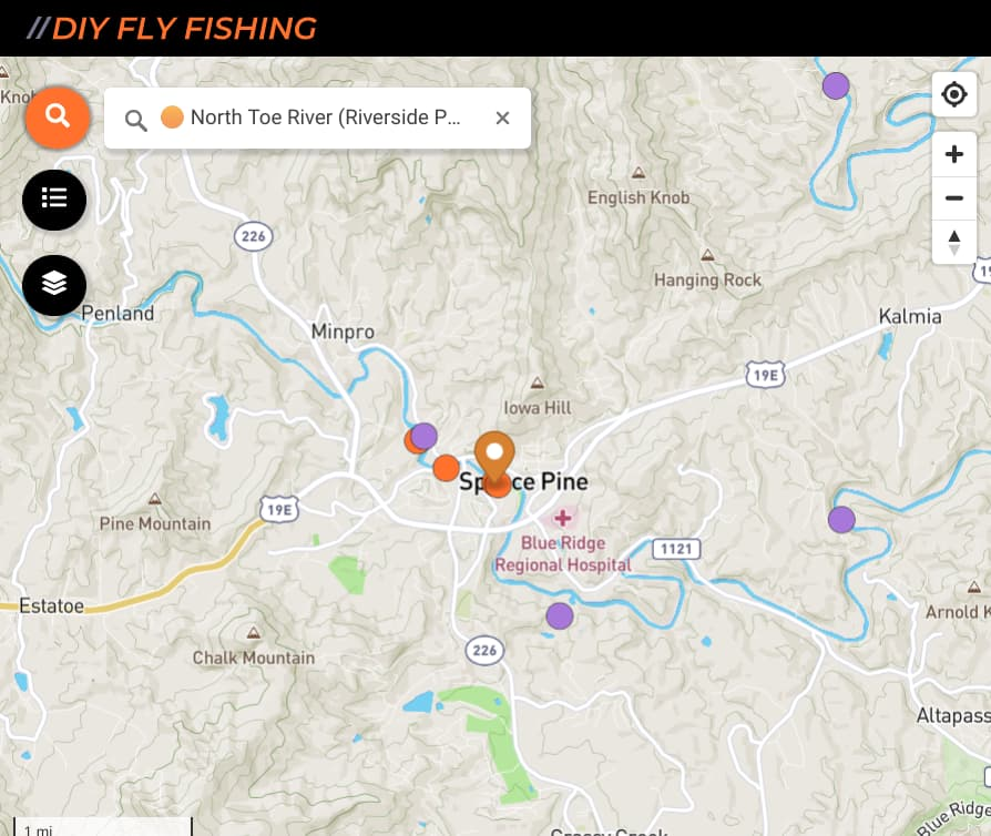 map fishing spots on the North Toe River in North Carolina