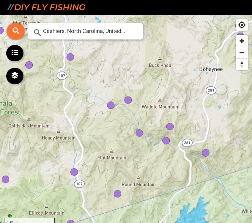 map of fishing spots on the Whitewater River near Cashiers, North Carolina