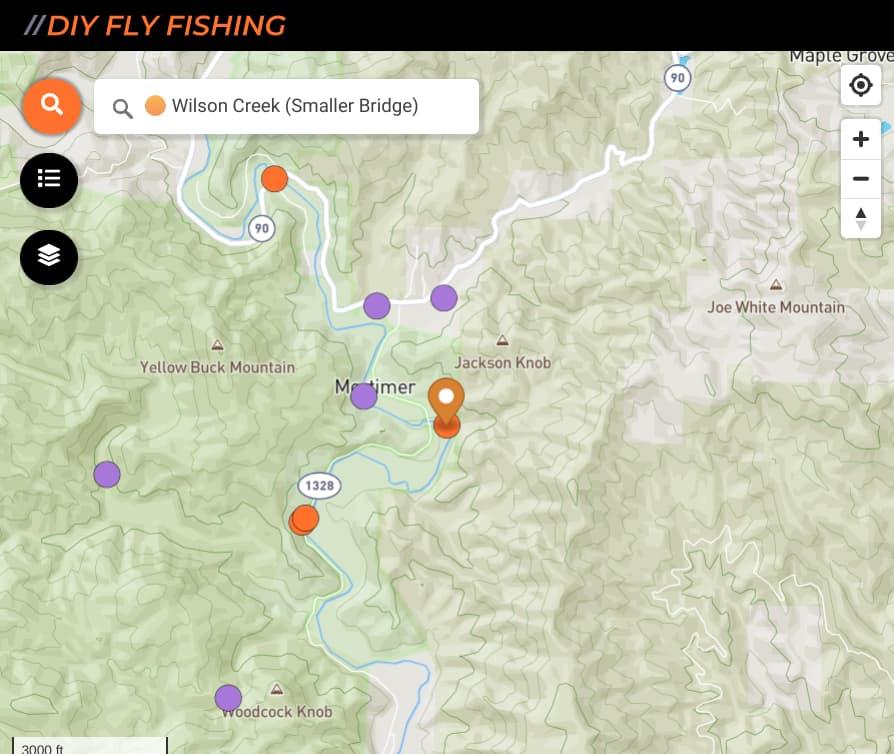 map of fishing spots on Wilson Creek in North Carolina