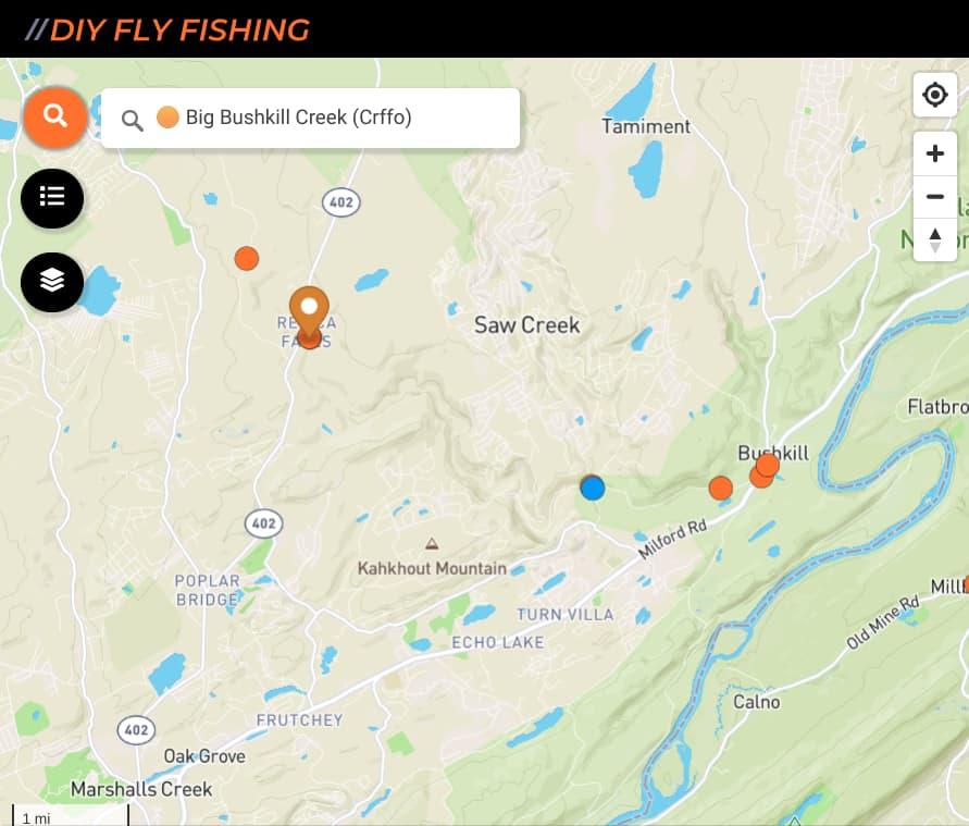 map of fishing spots on Big Bushkill Creek in Pennsylvania