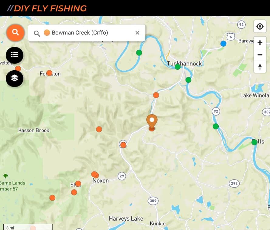map of fishing spots on Bowman Creek in Pennsylvania