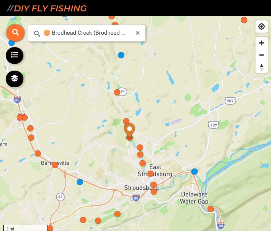 map of fishing spots on Brodhead Creek in Pennsylvania