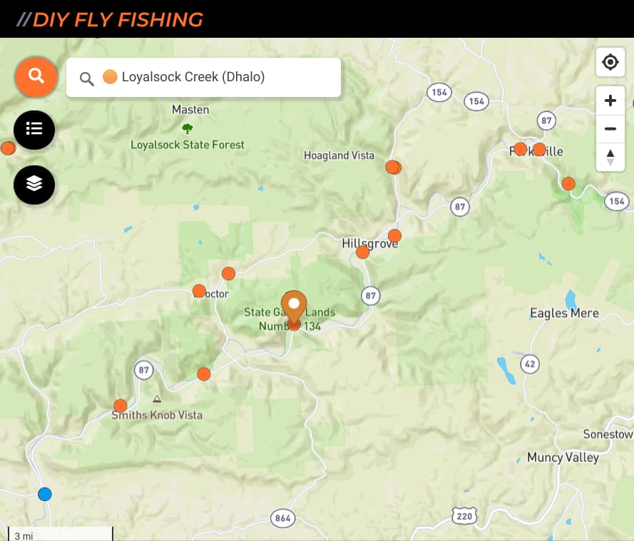 map of fishing spots on Loyalsock Creek in Pennsylvania