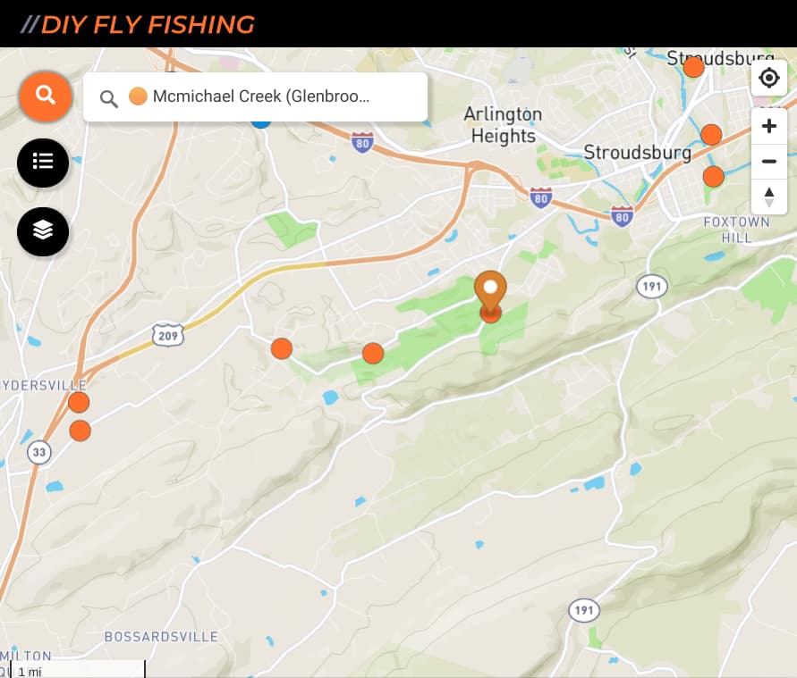 map of fishing spots on McMichael Creek in Pennsylvania