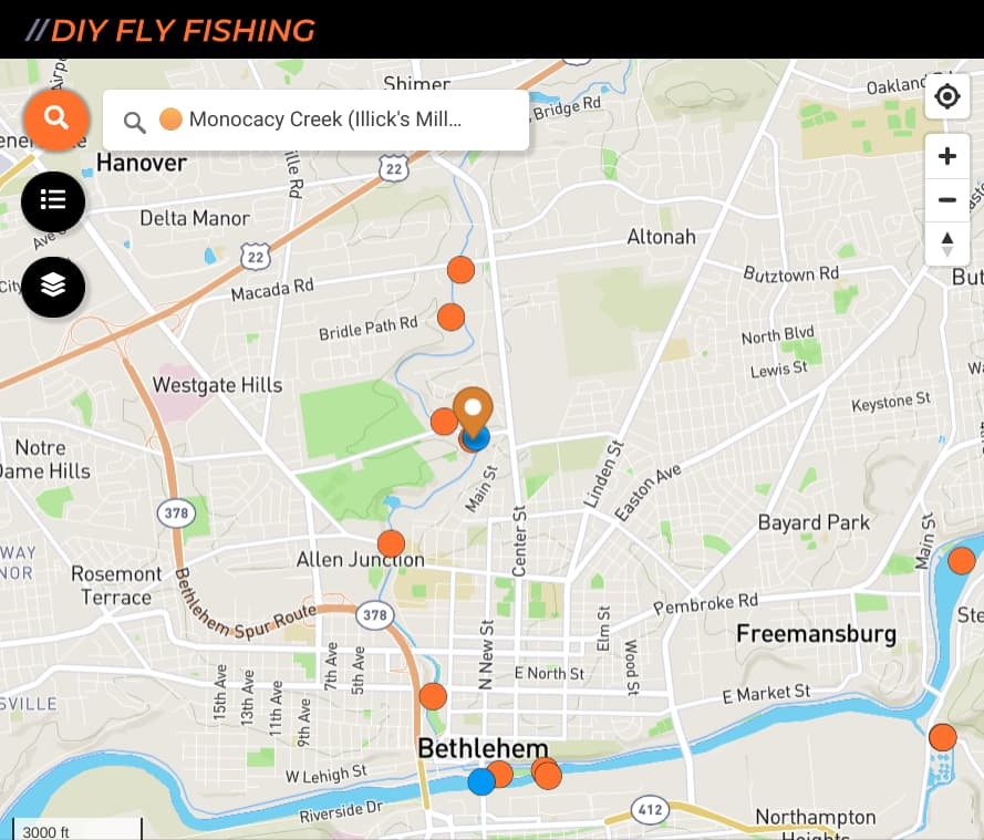 map of fishing spots on Monocacy Creek in Pennsylvania