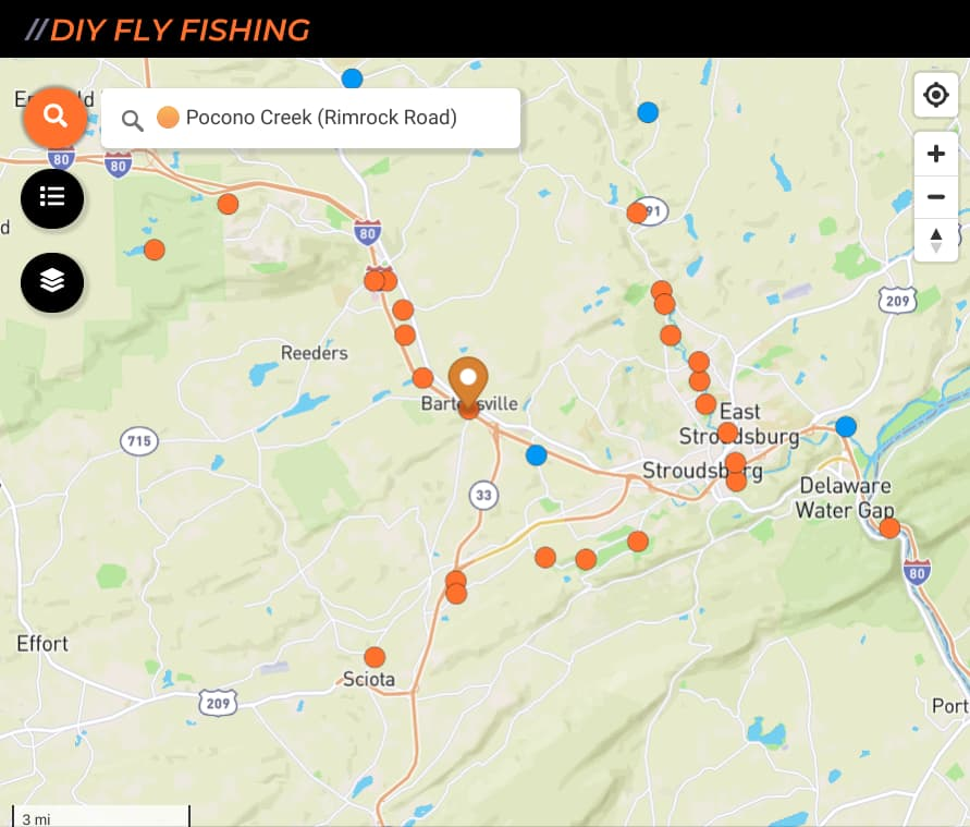 map of fishing spots on Pocono Creek in Pennsylvania