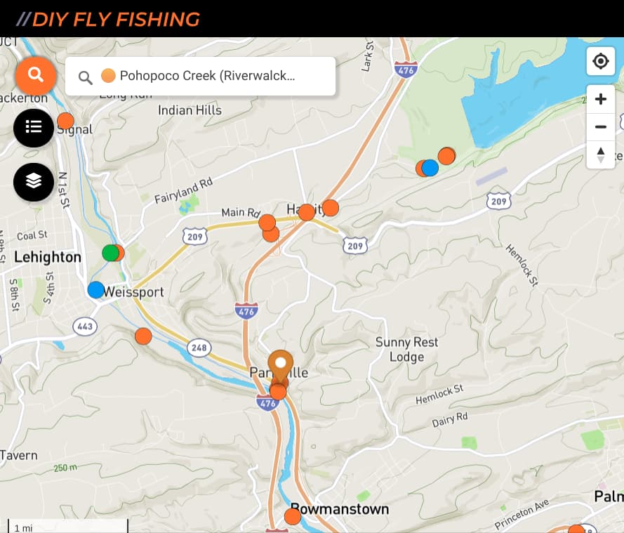 map of fishing spots on the Pohopoco Creek in Pennsylvania