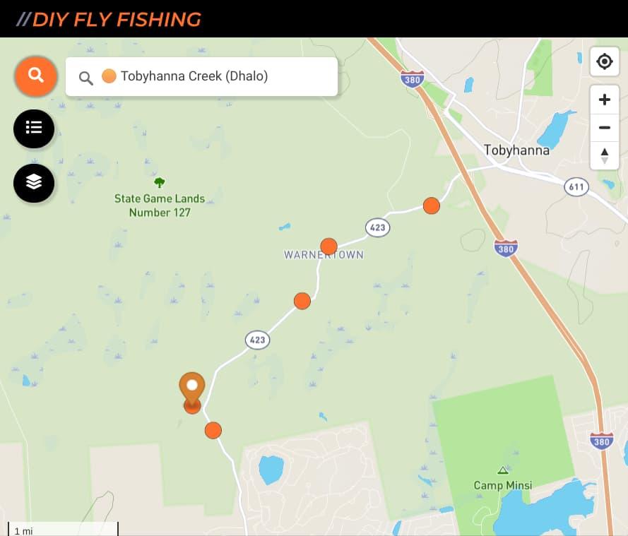 map of fishing spots on Tobyhanna Creek in Pennsylvania