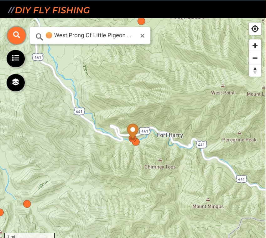 map of fishing access points on the West Prong Little Pigeon River in Great Smoky Mountains National Park