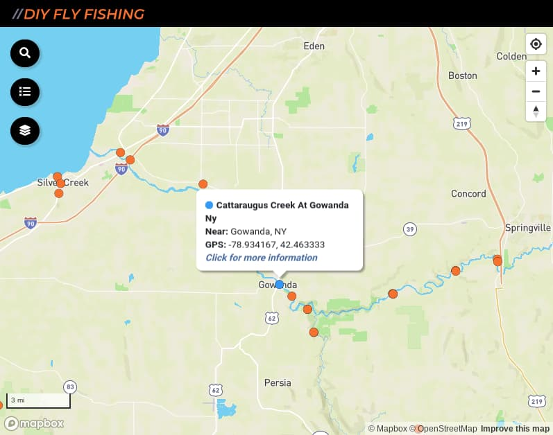 map of fishing access sites on Cattaraugus Creek in New York