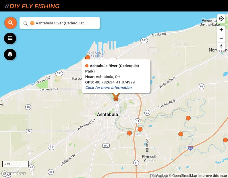 map of fishing access points on the Ashtabula River in Ohio
