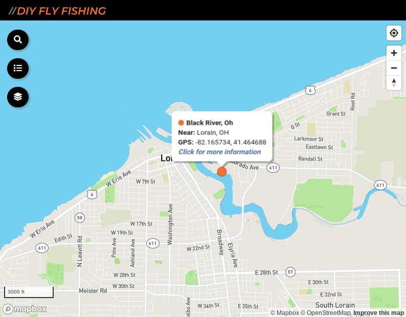 map of fishing access sites on the Black River in Ohio