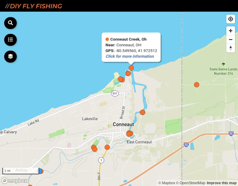 map of fishing access sites on Conneaut Creek in Ohio